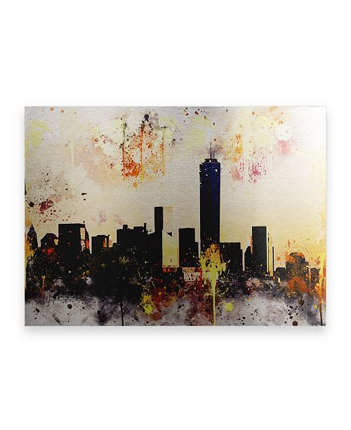 """Trademark Global Philippe Hugonnard NYC Watercolor Collection - Shadows and Lights Floating Brushed Aluminum Art - 21"""" x 25"""""""