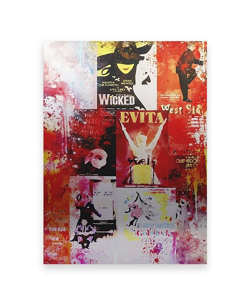"Trademark Global Philippe Hugonnard NYC Watercolor Collection - Broadway Shows II Floating Brushed Aluminum Art - 21"" x 25"""