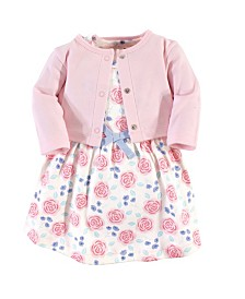 Touched by Nature Organic Cotton Dress and Cardigan Set, Pink Rose, 4 Toddler
