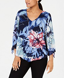 Printed-Overlay Necklace Blouse, Created for Macy's