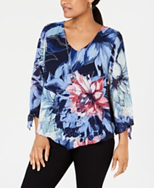 JM Collection Printed-Overlay Necklace Blouse, Created for Macy's