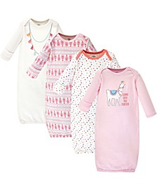 Cotton Gowns, Llama, 4 Pack, 0-6 Months