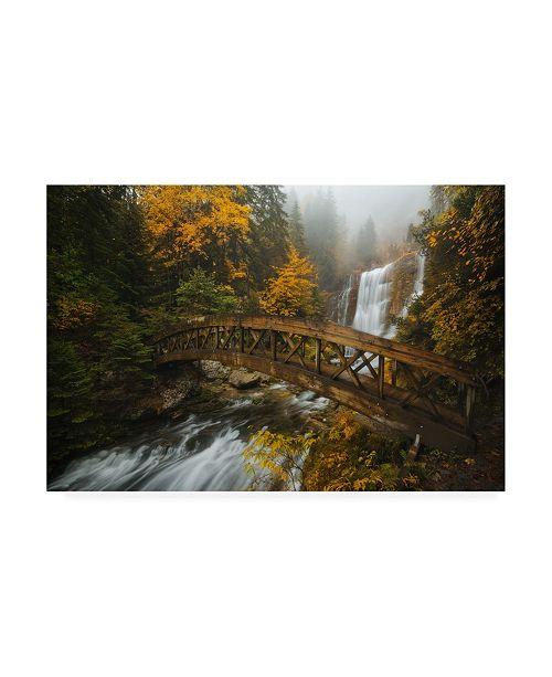 "Trademark Global Enrico Fossat A Bridge in the Forest Canvas Art - 15.5"" x 21"""