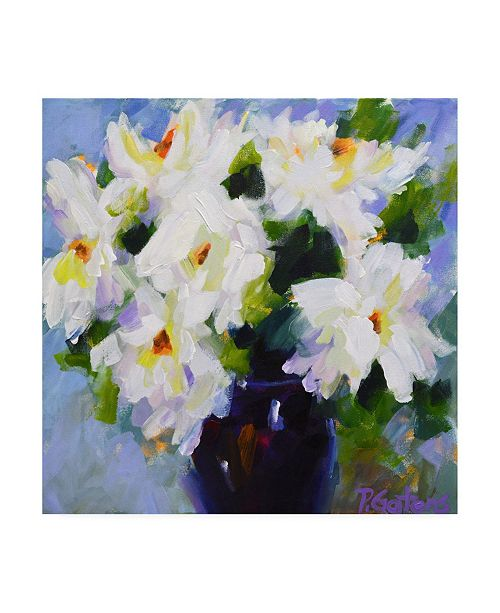 "Trademark Global Pamela Gaten White Peony Bouquet Canvas Art - 36.5"" x 48"""