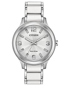 Drive From Eco-Drive Women's Stainless Steel & White Silicone Bracelet Watch 36mm