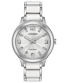 Drive From Citizen Eco-Drive Women's Stainless Steel & White Silicone Bracelet Watch 36mm