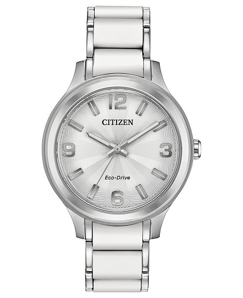 Citizen Drive From Eco-Drive Women's Stainless Steel & White Silicone Bracelet Watch 36mm