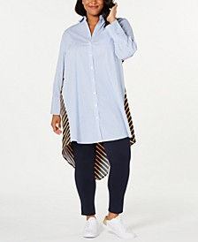 Plus Size Mixed-Stripe High-Low Tunic