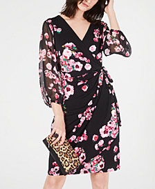 I.N.C. Printed Woven Wrap Dress, Created for Macy's