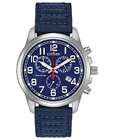 Citizen Eco-Drive Men's Chronograph Chandler Blue Fabric Strap Watch 39mm