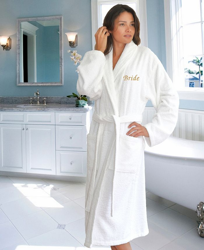 """Linum Home - Terry Bathrobe with Embroidered """"Bride"""""""