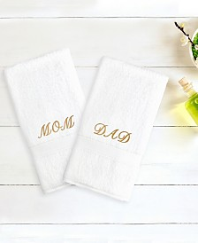 """Linum Home Terry 2-Pack of Hand Towels Embroidered with """"Mom/Dad"""""""