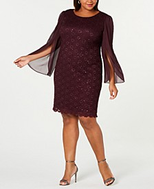 Plus Size Angel-Sleeve Sequined Dress