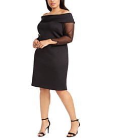 Calvin Klein Plus Size Illusion-Sleeve Off-The-Shoulder Dress