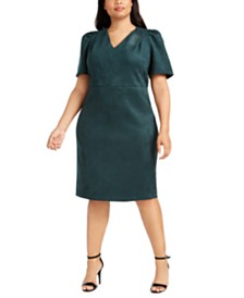 Calvin Klein Plus Size Puff-Sleeve Faux-Suede Dress