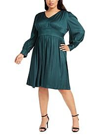 Plus Size Embossed Animal-Print Dress