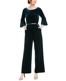 Calvin Klein Velvet Belted Jumpsuit