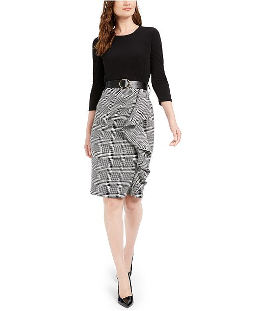 Calvin Klein Petite Belted Solid & Plaid Ruffled Dress