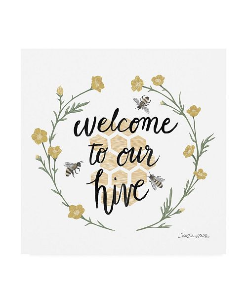 "Trademark Global Sara Zieve Miller Happy to Bee Home III Welcome Canvas Art - 15"" x 20"""