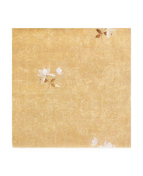 """Trademark Global Pablo Esteban White Flower Over Beige Texture Canvas Art - 15.5"""" x 21"""""""