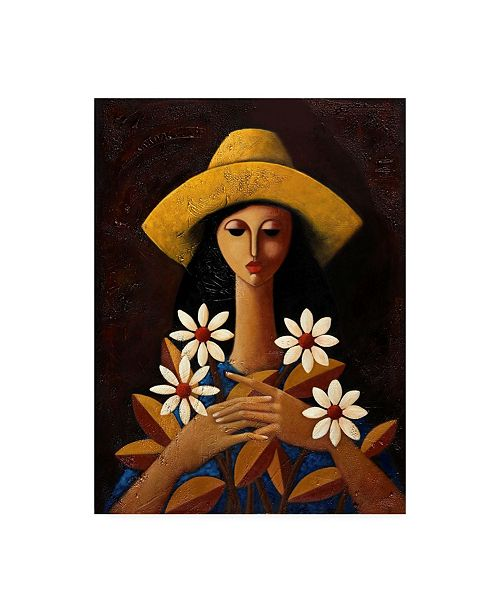 "Trademark Global Oscar Ortiz Five Daisies Canvas Art - 27"" x 33.5"""