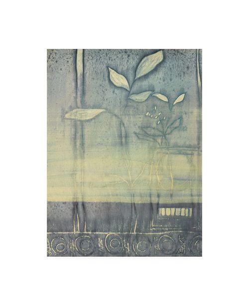 "Trademark Global Pablo Esteban White Flowers Watercolor Blue Canvas Art - 36.5"" x 48"""