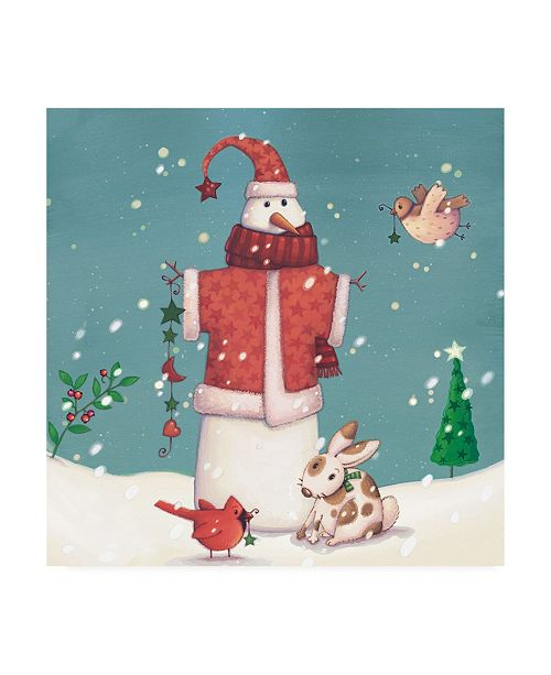 "Trademark Global Viv Eisner Folk Snowman II Canvas Art - 15.5"" x 21"""