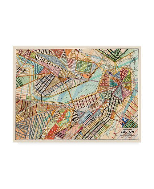 "Trademark Global Nikki Galapon Modern Map of Boston Canvas Art - 19.5"" x 26"""