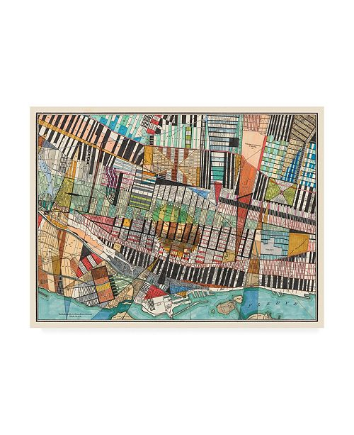 "Trademark Global Nikki Galapon Modern Map of Montreal Canvas Art - 36.5"" x 48"""