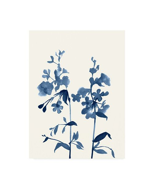 "Trademark Global Jennifer Goldberger Indigo Wildflowers III Canvas Art - 36.5"" x 48"""