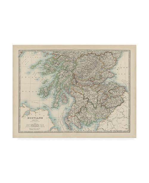 "Trademark Global Johnston Johnstons Map of Scotland Canvas Art - 36.5"" x 48"""