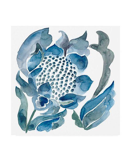 "Trademark Global Chariklia Zarris Indigo Ornament VII Canvas Art - 36.5"" x 48"""