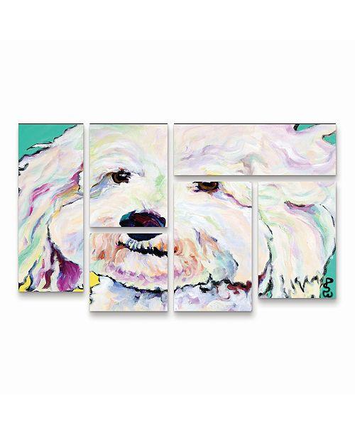 "Trademark Global Pat Saunders-White Buttons Multi Panel Art Set 6 Piece - 49"" x 19"""