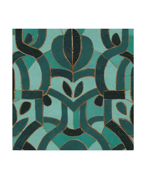 "Trademark Global June Erica Vess Turquoise Mosaic I Canvas Art - 20"" x 25"""