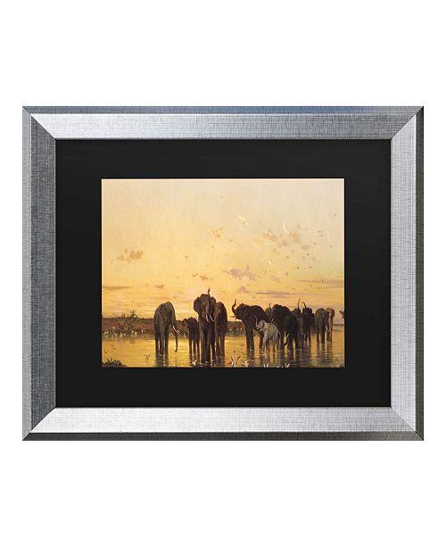"Trademark Global Charles Emile De Tournemine African Elephants Matted Framed Art - 20"" x 25"""