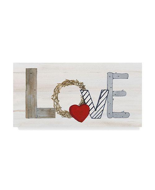 """Trademark Global Kathleen Parr Mckenna Rustic Valentine Love Canvas Art - 37"""" x 49"""""""