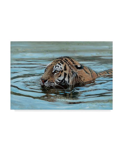 """Trademark Global Pip Mcgarry Cooling Off Tiger Canvas Art - 37"""" x 49"""""""