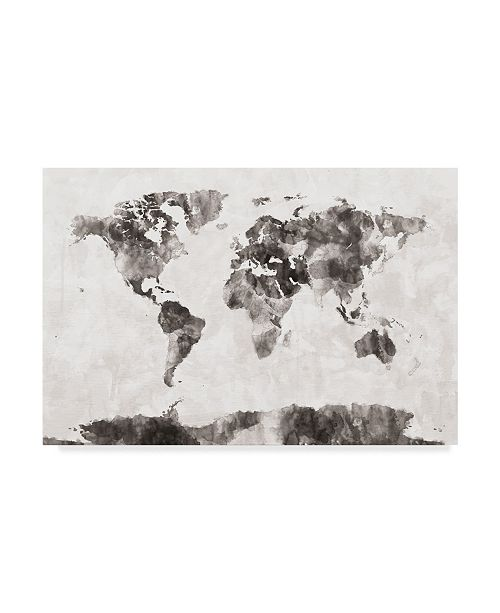 "Trademark Global Michael Tompsett Watercolor Map of the World Map Gray Canvas Art - 20"" x 25"""