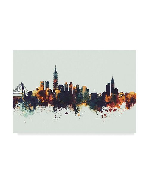 "Trademark Global Michael Tompsett Taipei Taiwan Skyline IV Canvas Art - 37"" x 49"""