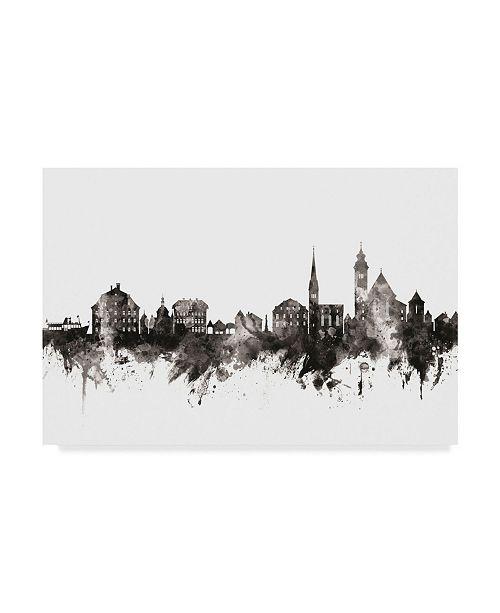"""Trademark Global Michael Tompsett Hallstatt Austria Skyline Black White Canvas Art - 20"""" x 25"""""""