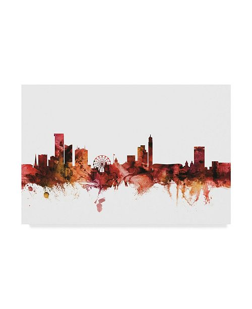 "Trademark Global Michael Tompsett Birmingham England Skyline Red Canvas Art - 20"" x 25"""