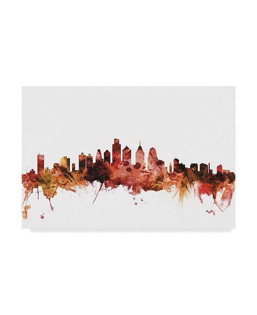 """Trademark Global Michael Tompsett Philadelphia Pennsylvania Skyline Red Canvas Art - 20"""" x 25"""""""