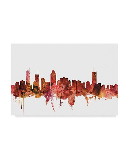 "Trademark Global Michael Tompsett Montreal Canada Skyline Red Canvas Art - 37"" x 49"""