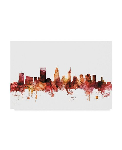 "Trademark Global Michael Tompsett Perth Australia Skyline Red Canvas Art - 20"" x 25"""