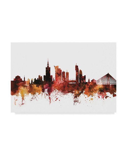 "Trademark Global Michael Tompsett Warsaw Poland Skyline Red Canvas Art - 20"" x 25"""