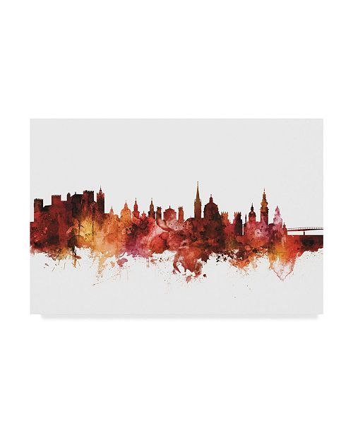 "Trademark Global Michael Tompsett Salzburg Austria Skyline Red Canvas Art - 37"" x 49"""