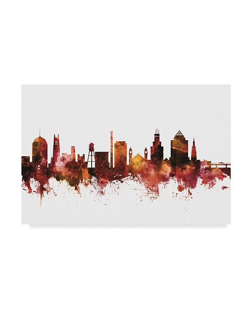"Trademark Global Michael Tompsett Durham North Carolina Skyline Red Canvas Art - 15"" x 20"""