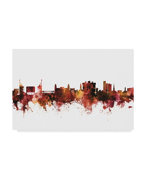 "Trademark Global Michael Tompsett Fayetteville Arkansas Skyline Red Canvas Art - 37"" x 49"""