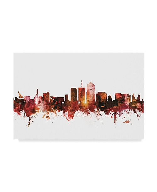 "Trademark Global Michael Tompsett Tucson Arizona Skyline Red Canvas Art - 15"" x 20"""
