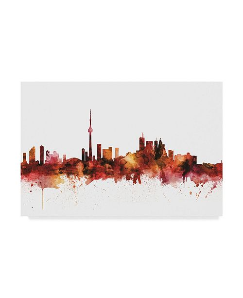 "Trademark Global Michael Tompsett Toronto Canada Skyline Red Canvas Art - 20"" x 25"""